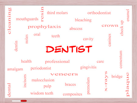 cementum: Dentist Word Cloud Concept on a Whiteboard with great terms such as cavity, care, teeth and more.