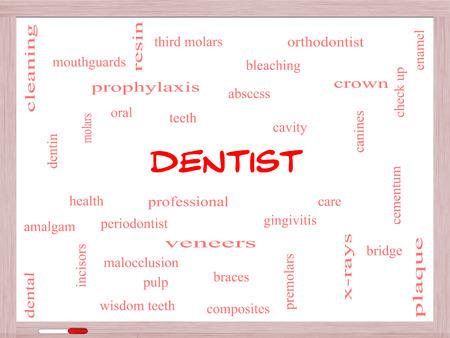 molares: Dentista Palabra Nube Concepto en una pizarra con términos de la talla de la cavidad, la atención, los dientes y más.