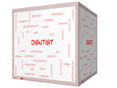 cementum: Dentist Word Cloud Concept on a 3D cube Whiteboard with great terms such as cavity, care, teeth and more. Stock Photo