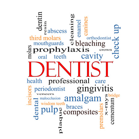 Dentist Word Cloud Concept with great terms such as cavity, care, teeth and more. photo
