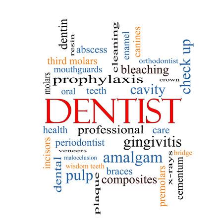 molares: Dentista Palabra Nube Concepto con los términos tales como la cavidad, la atención, los dientes y más. Foto de archivo
