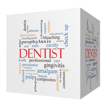 Dentist 3D cube Word Cloud Concept with great terms such as cavity, care, teeth and more.