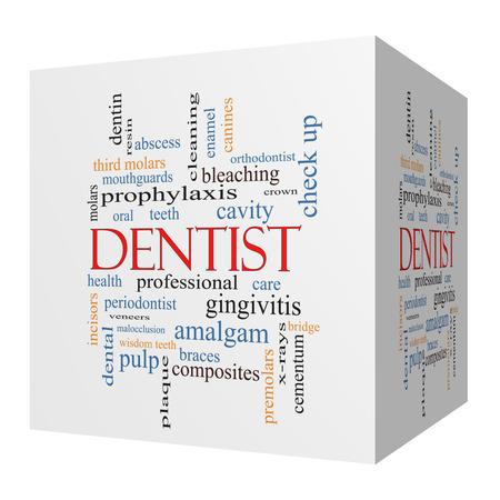molares: Dentista cubo 3D Palabra Nube Concepto con los términos tales como la cavidad, la atención, los dientes y más.