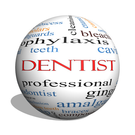 Dentist 3D sphere Word Cloud Concept with great terms such as cavity, care, teeth and more.