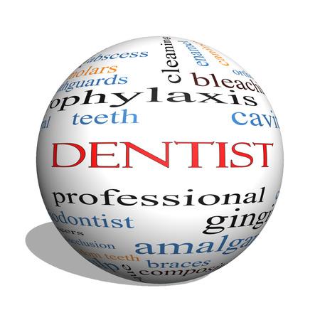 molares: Dentista 3D esfera Palabra Nube Concepto con los términos tales como la cavidad, la atención, los dientes y más.