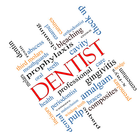 Dentist Word Cloud Concept angled with great terms such as cavity, care, teeth and more.
