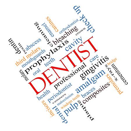 molares: Dentista Palabra Nube Concepto en ángulo con grandes términos como la cavidad, la atención, los dientes y más.
