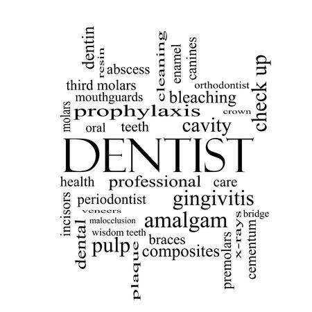 molares: Dentista Palabra Nube Concepto en blanco con grandes términos como la cavidad, la atención, los dientes y más y negro.