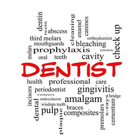 cementum: Dentist Word Cloud Concept in red caps with great terms such as cavity, care, teeth and more.