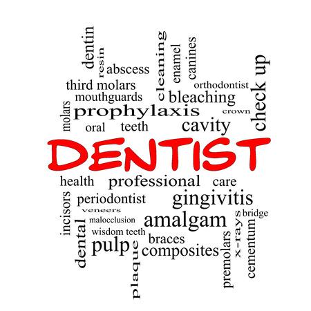 molares: Dentista Palabra Nube Concepto de gorras rojas con grandes términos como la cavidad, la atención, los dientes y más. Foto de archivo