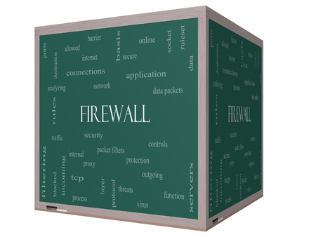tcp: Firewall Word Cloud Concept on a 3D cube Blackboard with great terms such as security, network, data and more.