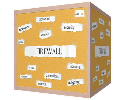 Firewall 3D cube Corkboard Word Concept with great terms such as controls, security, data and more.