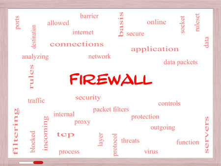 tcp: Firewall Word Cloud Concept on a Whiteboard with great terms such as security, network, data and more. Stock Photo