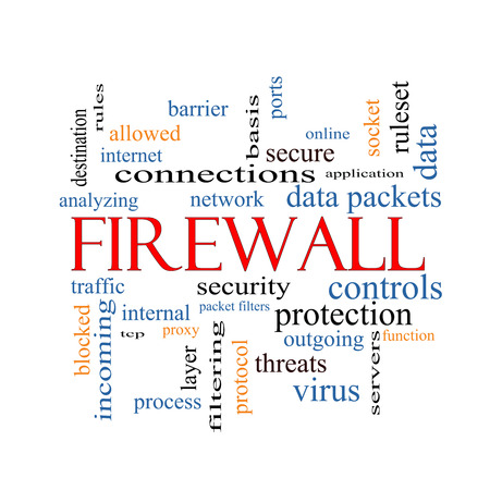 Firewall Word Cloud Concept with great terms such as security, network, data and more. photo