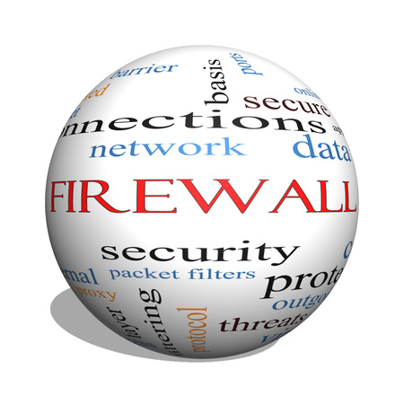 tcp: Firewall 3D sphere Word Cloud Concept with great terms such as security, network, data and more.