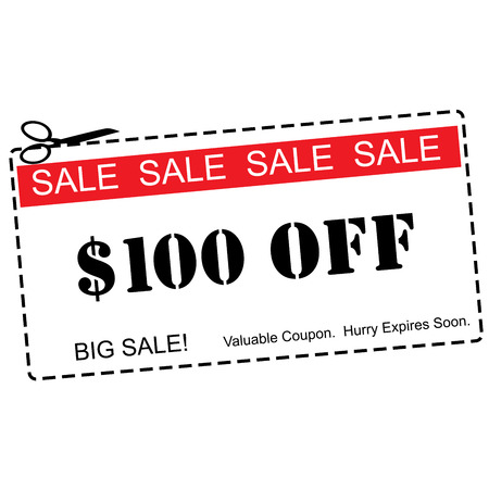 expires: A red, white and black One Hundred Dollars Off Sale Coupon making a great concept.