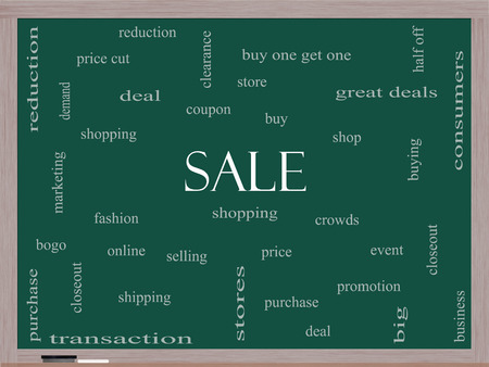 bogo: Sale Word Cloud Concept on a Blackboard with great terms such as shopping, buy, deal and more. Stock Photo
