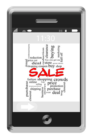 bogo: Sale Word Cloud Concept on a Touchscreen Phone with great terms such as shopping, coupon, buy and more.