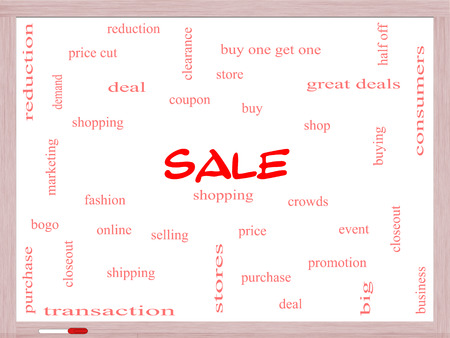 bogo: Sale Word Cloud Concept on a Whiteboard with great terms such as shopping, buy, deal and more.