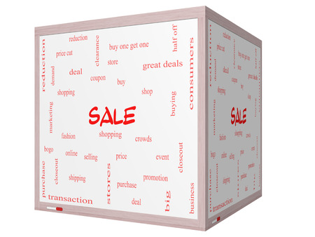 bogo: Sale Word Cloud Concept on a 3D cube Whiteboard with great terms such as shopping, buy, deal and more.