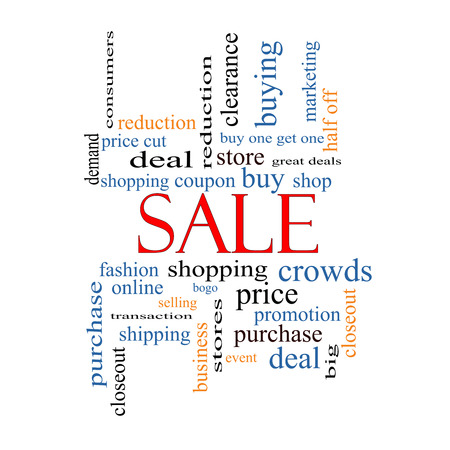 Sale Word Cloud Concept with great terms such as shopping, buy, deal and more. photo