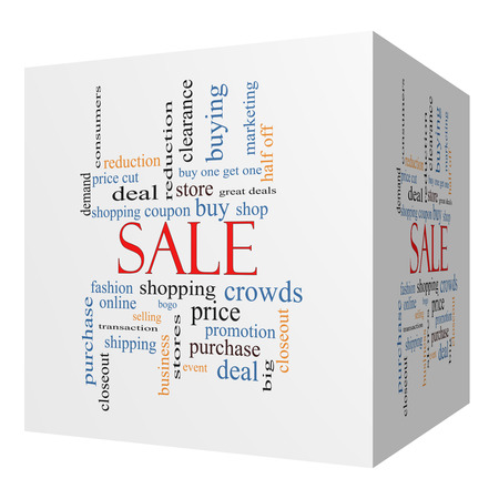 bogo: Sale 3D cube Word Cloud Concept with great terms such as shopping, buy, deal and more.