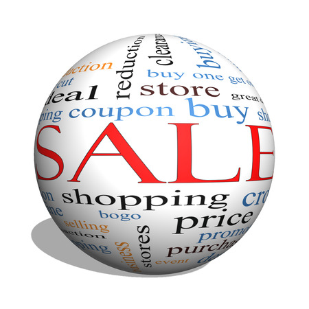 bogo: Sale 3D sphere Word Cloud Concept with great terms such as shopping, buy, deal and more.