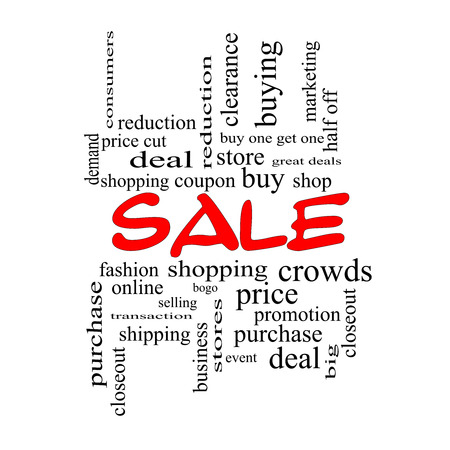 deal in: Sale Word Cloud Concept in red caps with great terms such as shopping, buy, deal and more.