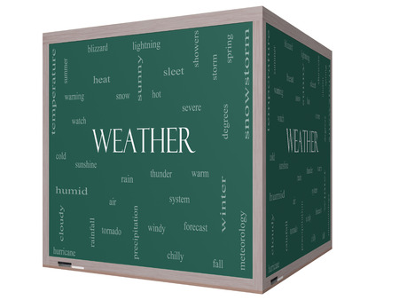Weather 3D cube Word Cloud Concept on a Blackboard with great terms such as rain, sunshine, forecast and more. photo