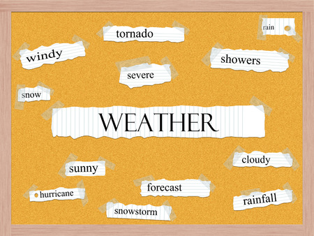 Weather Corkboard Word Concept with great terms such as tornado, rain, severe and more. photo