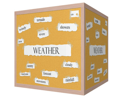 Weather 3D cube Corkboard Word Concept with great terms such as tornado, rain, severe and more. photo