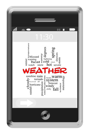 Weather Word Cloud Concept on a Touchscreen Phone with great terms such as forecast, rain, snow and more. photo