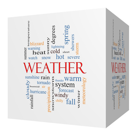 Weather 3D cube Word Cloud Concept with great terms such as rain, sunshine, forecast and more. photo