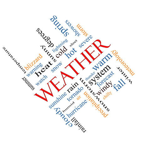 Weather Word Cloud Concept angled with great terms such as rain, sunshine, forecast and more. photo