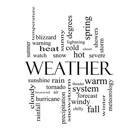 Weather Word Cloud Concept in black and white with great terms such as rain, sunshine, forecast and more. photo