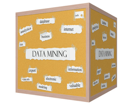 Data Mining 3D cube Corkboard Word Concept with great terms such as database, internet, tools and more. Stock Photo
