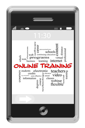 Online Training Word Cloud Concept on a Touchscreen Phone with great terms such as learning, education, video and more. photo