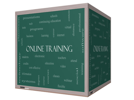 Online Training Word Cloud Concept on a 3D cube Blackboard with great terms such as electronic, education, video and more. photo