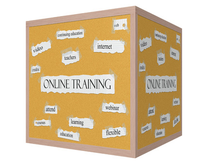 Online Training 3D cube Corkboard Word Concept with great terms such as video, attend, learning and more. photo
