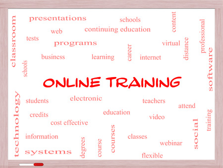 Online Training Word Cloud Concept on a Whiteboard with great terms such as electronic, education, video and more. photo