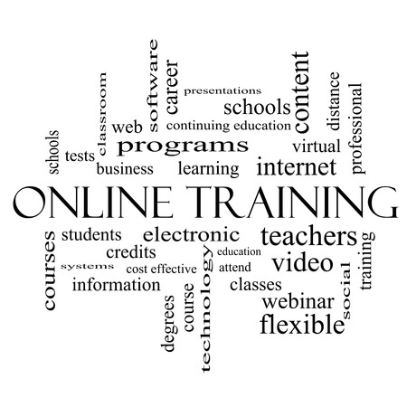 continuing education: Online Training Word Cloud Concept in black and white with great terms such as electronic, education, video and more. Stock Photo