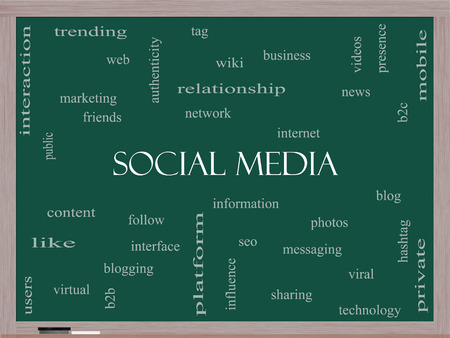 web presence internet presence: Social Media Word Cloud Concept on a Blackboard with great terms such as network, follow, content and more. Stock Photo