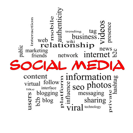 authenticity: Social Media Word Cloud Concept in red caps with great terms such as network, follow, content and more.