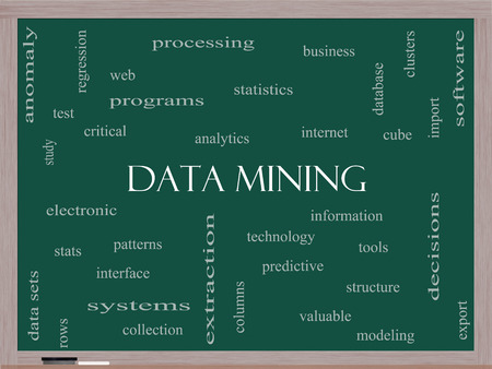 Data Mining Word Cloud Concept on a Blackboard with great terms such as analytics, internet, statistics and more. photo