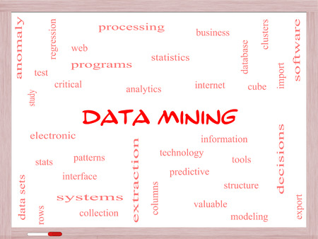 regression: Data Mining Word Cloud Concept on a Whiteboard with great terms such as analytics, internet, statistics and more.