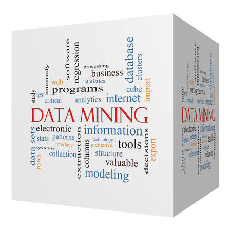 regression: Data Mining 3D cube Word Cloud Concept with great terms such as analytics, internet, statistics and more.