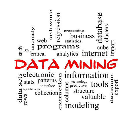 regression: Data Mining Word Cloud Concept in red caps with great terms such as analytics, internet, statistics and more.