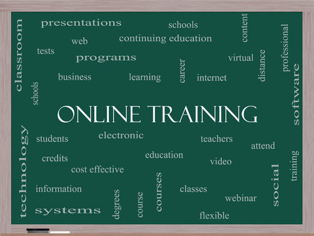 virtual classroom: Online Training Word Cloud Concept on a Blackboard with great terms such as electronic, education, video and more.