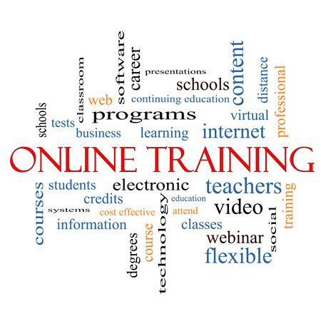 virtual classroom: Online Training Word Cloud Concept with great terms such as electronic, education, video and more.