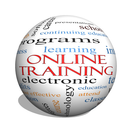continuing education: Online Training 3D sphere Word Cloud Concept with great terms such as electronic, education, video and more.